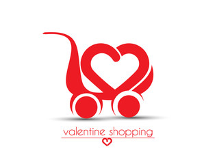 Shopping Cart Icon for valentine gift shop.