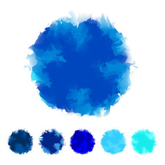 Set of blue water color round design for brush, textbox, design