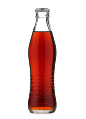 Closed glass bottle with soft drink cola or soda