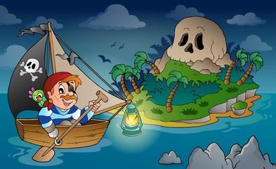 Foto op Plexiglas Piraten Theme with pirate skull island 2