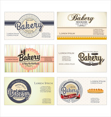 Set of 6 bakery retro business card templates