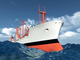 Frachtschiff in stürmischer See
