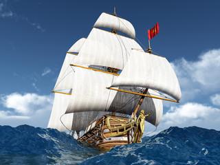 Segelschiff in stürmischer See