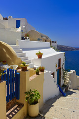 Traditional blue and white buildings of Santorini, Greece