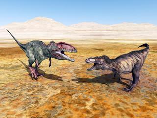 Giganotosaurus and Tyrannosaurus Rex