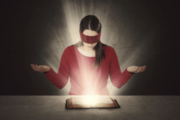 Wall Mural - Blindfolded Bible reading