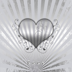Silver background and  heart  in shades