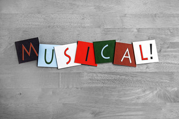 Wall Mural - musical, sign series for music, vocals, singing, dance.