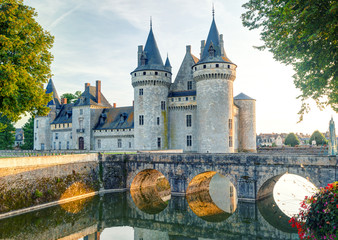 Chateau of Sully-sur-Loire, France. Medieval castle in Loire Valley at sunset.