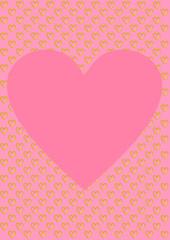 Karte rosa mit goldenen Herzen und einem großen