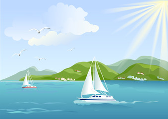 yacht, sea and mountains