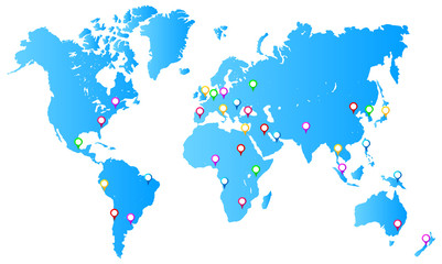 Most Important City Capitals Map Pins On World Map