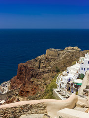 oid fortress on the red rock. Santorini, Greece
