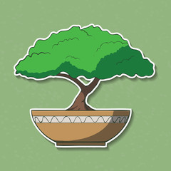 Vector Illustration of colorful paper bonsai tree.