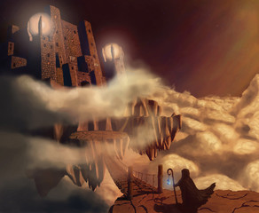 Dark castle in clouds. Fairytale. Fantasy landscape. Vector