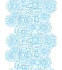 Vector doodle circle water texture vertical border seamless