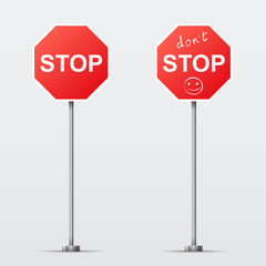 Stop and Dont Stop road sign isolated. Vector illustration
