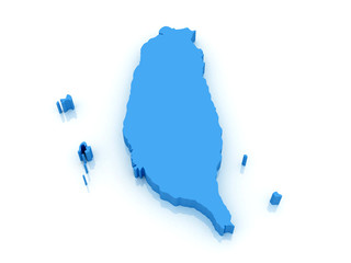 3d map of Taiwan with high-resolution on  white background