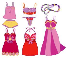 collection of fashionable women's underwear (vector illustration