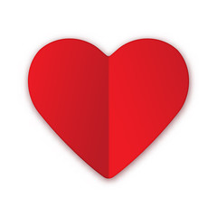 Paper red heart Valentines day card on white background.
