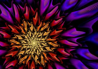 Wall Mural - Neon fractal flower