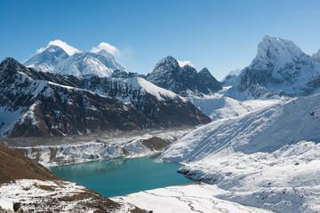 Mount Everest, Lhotse, and Gokyo Lake,  Himalaya, Nepal
