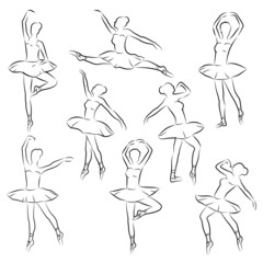 ballet  outline ballerina dancer figure