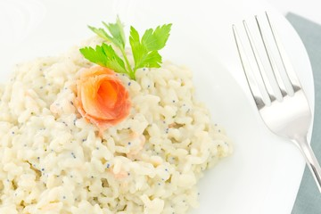 rice with salmon and caviar