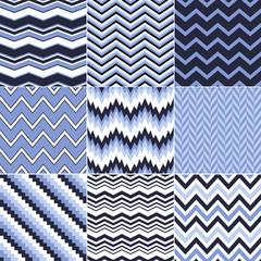 seamless chevron wave blue background set