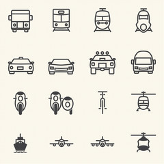 Vehicle and transportation icon sets.
