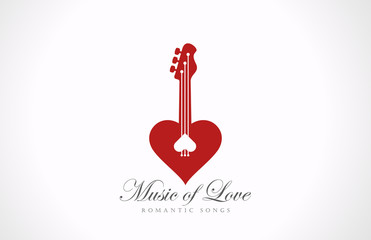 Romantic Guitar - Music of Love Valentine party logo design