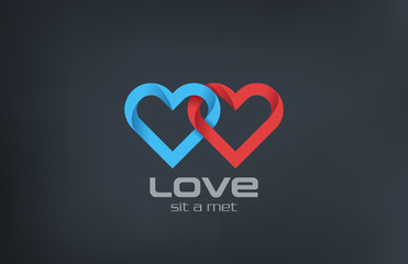 Logo couple 2 Hearts loop locked design. Valentines day