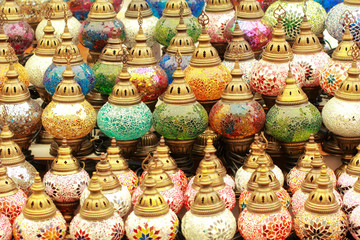 Colorful lanterns or lamps on the Turkish Grand Bazaar