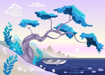 Romantisch landschap met boom en water.