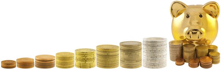 tirelire dorée et piles de pièces de monnaie