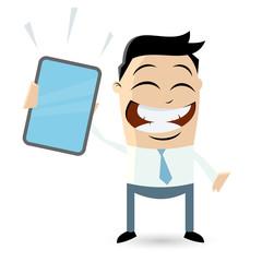 cartoon männchen tablet handy
