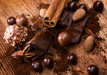 assortment chocolate with spices