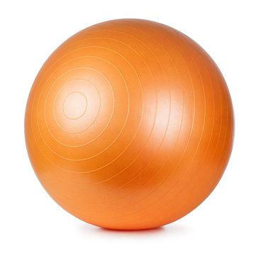 Orange fitness ball isolated on white background