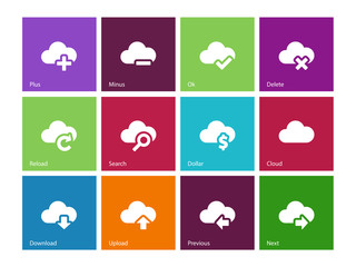 Cloud icons on color background.