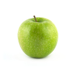 Ripe green apple isolated on white closeup