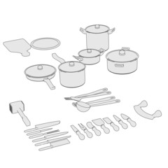 cartoon image of cookware set