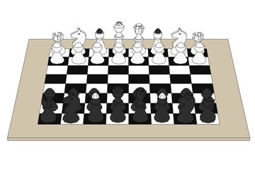 cartoon image of chess set