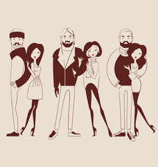 fashion people, man and woman couples  vector illustration