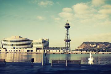 view of Barcelona harbor, Spain