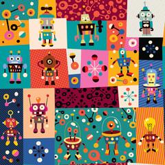 Lamas personalizadas infantiles con tu foto robots pattern