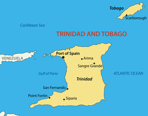 Republic of Trinidad and Tobago - vector map
