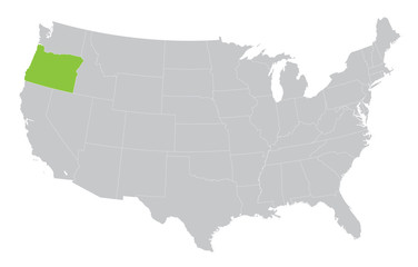 USA map with the indication of State of Oregon
