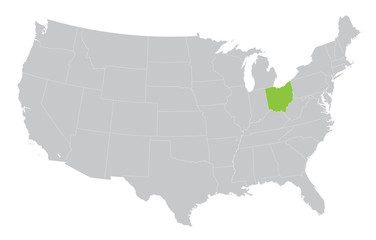 USA map with the indication of the State of Ohio