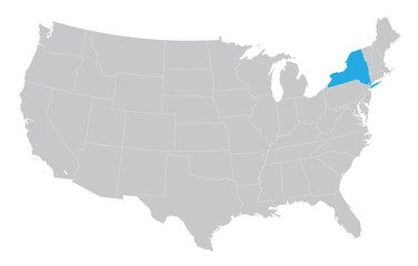 USA map with the indication of the State of New York
