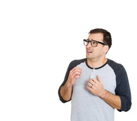 Scared, stressed, shy, nerdy man looking anxiously sideways